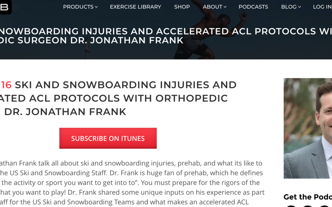 Dr. Jonathan Frank joins The Prehab Guys podcast to discuss Ski and Snowboard injuries